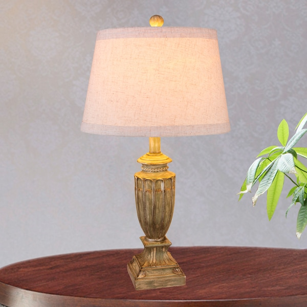 Fangio Lighting's 26 in. Resin Table Lamp in an Antique Beige Finish