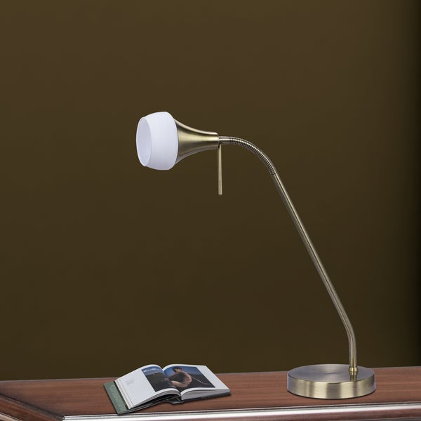 Fangio Lighting's 15-22 in. Metal Table Lamp in an Antique Brass Finish