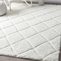 nuLOOM Soft and Plush Moroccan Trellis Shag Rug