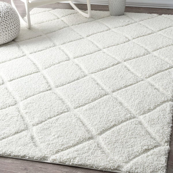 Nuloom Soft And Plush Moroccan Trellis White Rug 6 X27 7 X