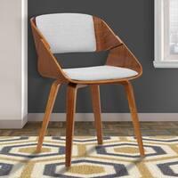 Armen Living Ivy Grey Fabric Walnut wood Mid-Century Dining Chair