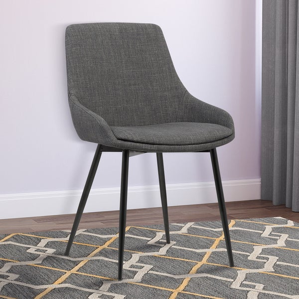 Armen Living Mia Gray Fabric Dining Chair With Black Powder Coated Metal Legs