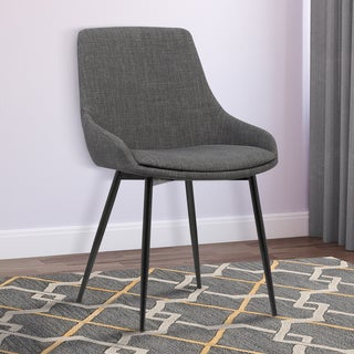 Armen Living Mia Gray Fabric Dining Chair With Black Powder-coated Metal Legs