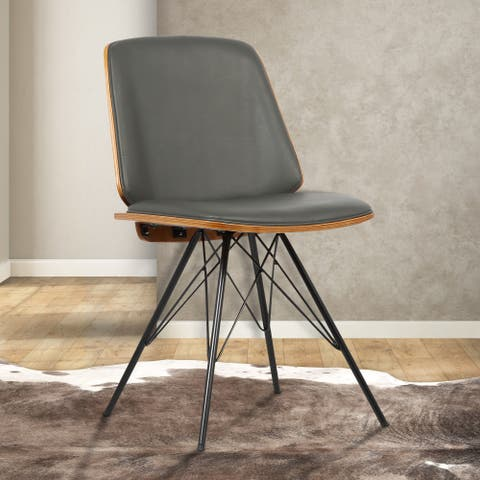 Armen Living Inez Grey Faux Leather Mid-century Dining Chair