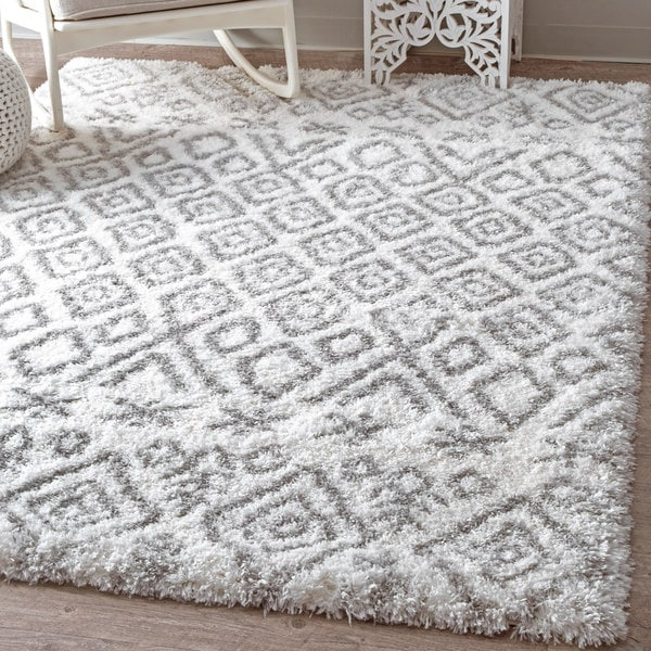 NuLOOM Soft And Plush Shag Cloudy Moroccan Diamond Grey