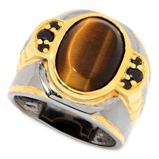 Michael Valitutti Palladium Silver Tiger's Eye & Black Spinel Textured Men's Band Ring