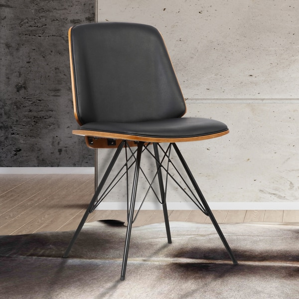 shop armen living inez black faux leather mid century dining chair free shipping today. Black Bedroom Furniture Sets. Home Design Ideas