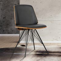 Armen Living Inez Black Faux Leather Mid-century Dining Chair