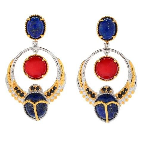 Michael Valitutti Palladium Silver Cleopatra Multi Gemstone Scarab Beetle Drop Earrings