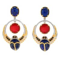 Michael Valitutti Palladium Silver Cleopatra Multi Gemstone Scarab Beetle Drop Earrings