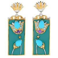 Michael Valitutti Palladium Silver Cleopatra Kingman Turquoise & Multi Gemstone Drop Earrings