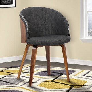 Armen Living Alpine Walnut Wood Mid-century Dining Chair with Charcoal Fabric Upholstery