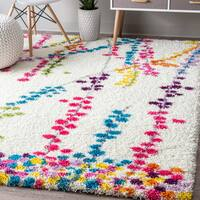 """nuLOOM Contemporary Radiance Floral Branches Shag Multi Rug (5' x 8') - 5'3"""" x 7'6"""""""