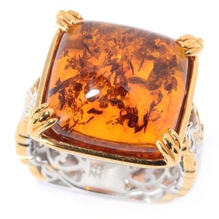 Michael Valitutti Palladium Silver Mini Cabochon Amber & Citrine Cocktail Ring