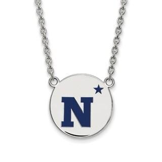 Sterling Silver LogoArt Navy Large Enamel Disc Necklace