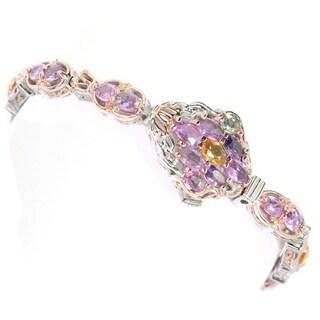 Michael Valitutti Palladium Silver Multi Color Pastel Sapphire Cluster Link Bracelet