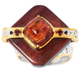 Michael Valitutti Palladium Silver Tiger's Eye, Amber & Garnet Diamond Shaped Ring