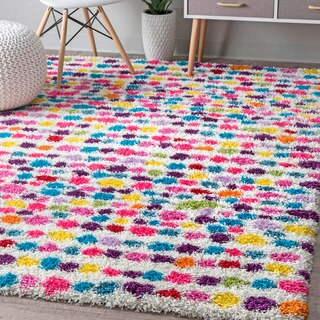 nuLOOM Contemporary Bohemian Inspire Striped Dots Shag Multi Rug (8' x 10')
