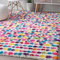 "nuLOOM Contemporary Bohemian Inspire Striped Dots Shag Multi Rug (8' x 10') - 7'10"" x 10'"