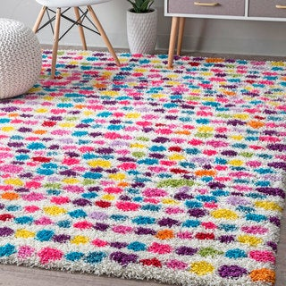 "nuLOOM Contemporary Bohemian Inspire Striped Dots Shag Multi Rug (8' x 10') - 7'1""0"" x 10'"