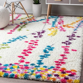 nuLOOM Contemporary Radiance Floral Branches Shag Multi Rug (8' x 10')