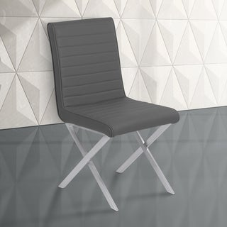 Armen Living Tempe Grey Faux Leather and Stainless Steel Dining Chair - Set of 2