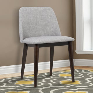 Armen Living Horizon Contemporary Light Grey Fabric Brown Wood Dining Chairs (Set of 2)