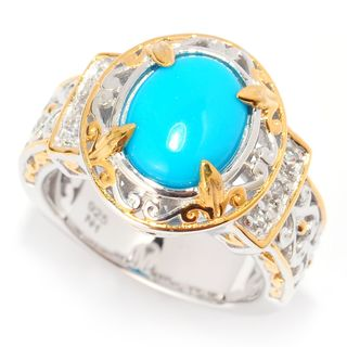 michael valitutti palladium silver oval sleeping beauty turquoise u0026 white zircon ring