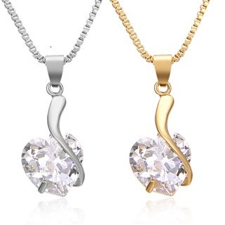CUBIC ZIRCONIA HEARTS EMBRACE Adjustable NECKLACE