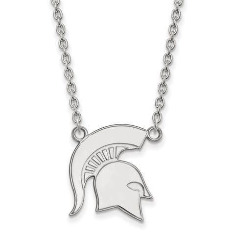 Versil Sterling Silver LogoArt Michigan State University Large Pendant with Necklace