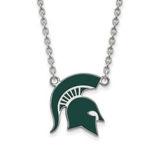 Sterling Silver LogoArt Michigan State U Large Enamel Pendant with Necklace