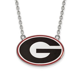 Sterling Silver LogoArt U of Georgia Large Enamel Pendant with Necklace