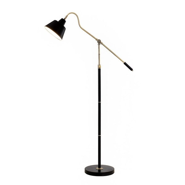 "Catalina Nelson 60.25"" Adjustable Antique Brass and Matte Black Metal Floor Lamp"