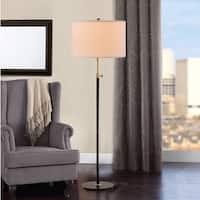 "Catalina Riley 67.75"" 3-Way Adjustable Antique Brass and Matte Black Metal Floor Lamp"