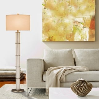 """Catalina Concord 61"""" 3-Way Mercury Glass Cylinder Floor Lamp with Antique Pewter Accents"""