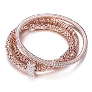 Triple Popcorn Rose Bracelet With Embellished Crystal Single Barrel