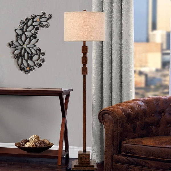 "Catalina Sycamore 62"" 3-Way Dark Wood Inspired Floor Lamp"