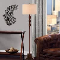 "Catalina Sycamore 62"" 3-Way Dark Wood Inspired Floor Lamp"