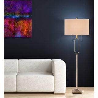 """Catalina Meredith 62"""" 2-Light Antique Brass Metal Floor Lamp"""