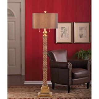"Catalina Marietta 62"" 2-Light Faceted Burnished Bronze Floor Lamp"