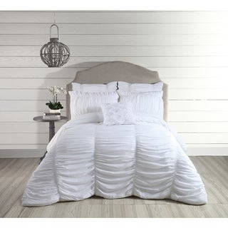 Jessica Simpson Lulu White Ruched 3-piece Comforter Set