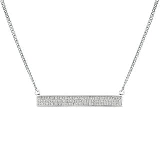 Sterling Silver 0.51ct Diamond Women's Bib Bar Trapeze Necklace