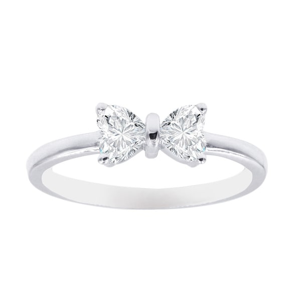 1 2 Carat Heart Shaped 2 Stone Bow Design Engagement Rings For
