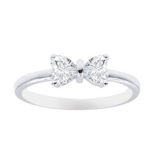 1/2 Carat Heart Shaped 2 Stone Bow Design Engagement Rings For women 14K White Gold