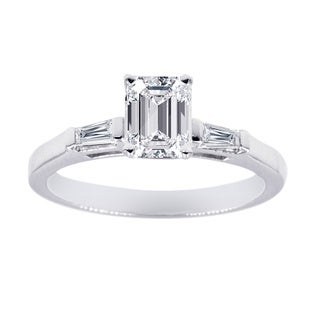 Three Stone Engagement Ring 1/2 Carat Emerald Cut Diamond In 14K White Gold GIA Certified