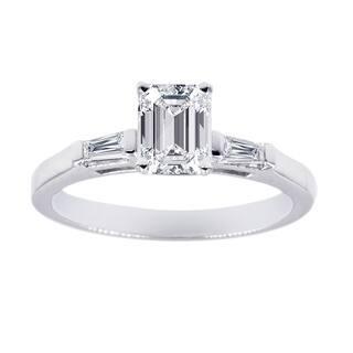 Three Stone Engagement Ring 1 2 Carat Emerald Cut Diamond In 14K White Gold GIA