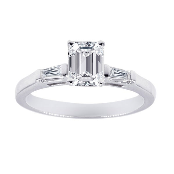 Three Stone Engagement Ring 1/2 Carat Emerald Cut Diamond In 14K White Gold GIA Certified
