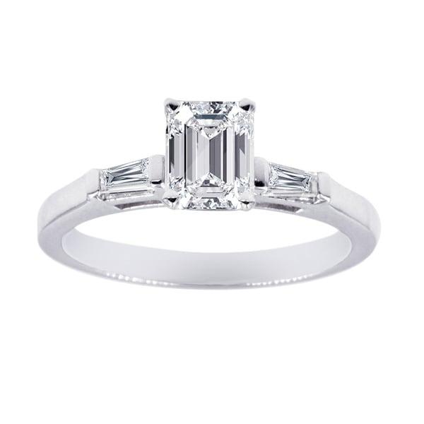 Shop Three Stone Engagement Ring 1/2 Carat Emerald Cut ...