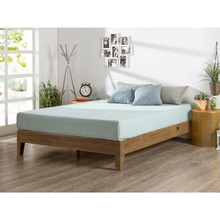 Priage Rustic Oak Solid Wood Deluxe Platform Bed