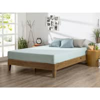 Priage Deluxe Solid Wood Platform Bed, Rustic Pine